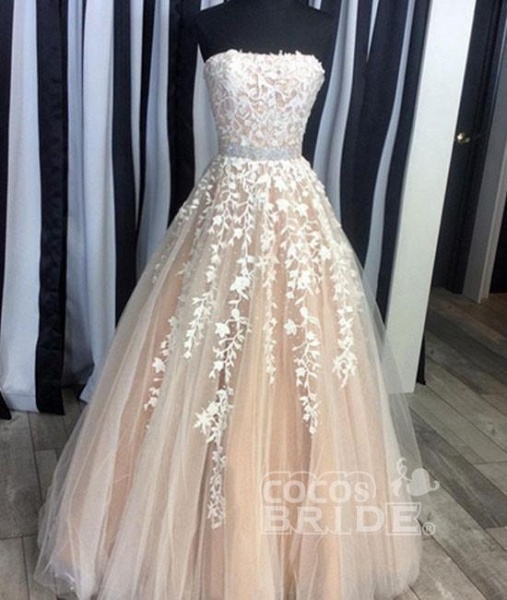 Custom-made Lace Appliques Tulle Long Wedding Dress_7