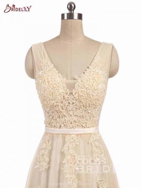 Glamorous V-Neck Lace Ribbon A-line Wedding Dresses_4