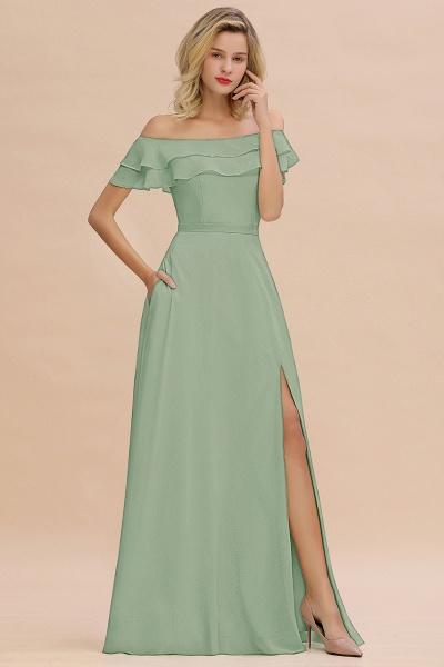 BM0775 Off-the-Shoulder Front Slit Mint Green Long Bridesmaid Dress_41