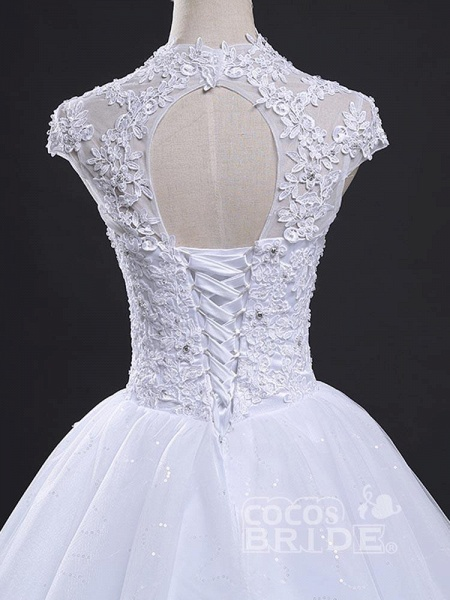 V-Neck Cap Sleeves Ball Gown Lace Wedding Dresses_4
