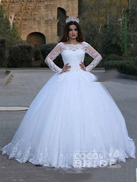 Long Sleeves Lace Appliques Wedding Dresses_2