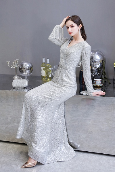Gorgeous Sequins Long Sleeve V-Neck Mermaid Evening Gowns_12