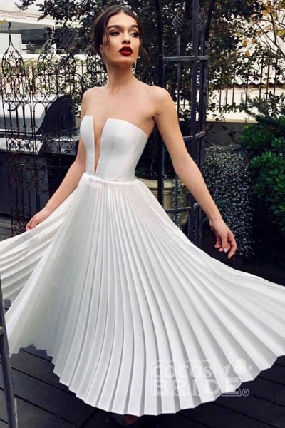 Ankle Length Strapless Ivory Pleats Beach Wedding Dress_2