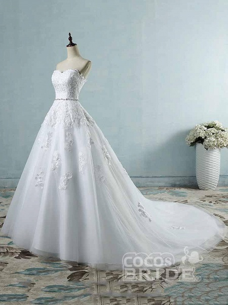 Glamorous Sweetheart Appliques Lace-UP Wedding Dresses_2