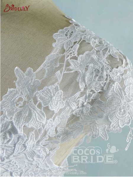 Lace White Cap Sleeves Ball Gown Tulle Wedding Dresses_6