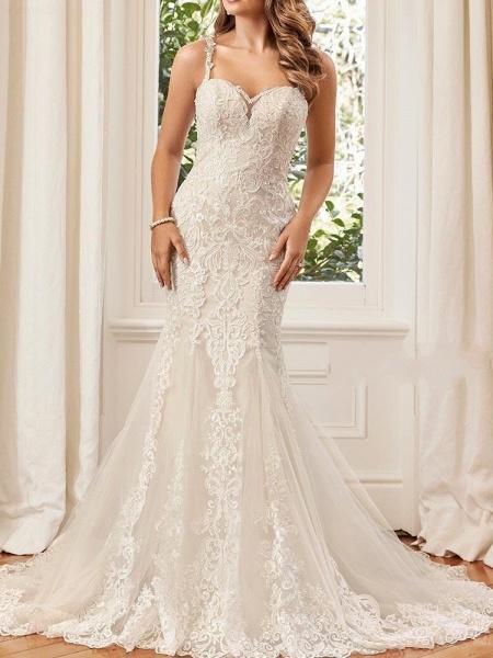Unique Lace Appliques Mermaid Wedding Dresses_1