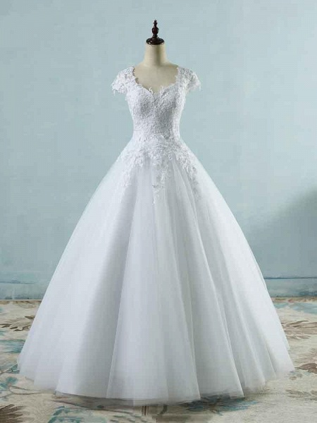 Lace White Cap Sleeves Ball Gown Tulle Wedding Dresses_1