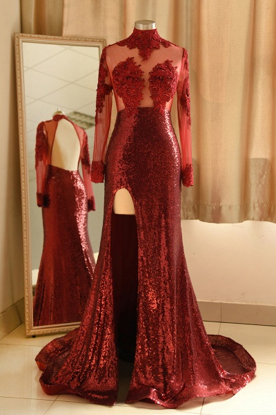 Burgundy Modern High Neck Sexy Split Open back Prom Dress_1