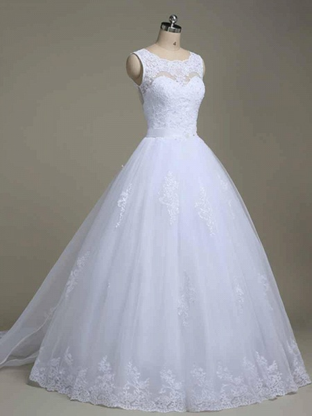 Elegant Jewel Lace Ball Gown Wedding Dresses_1