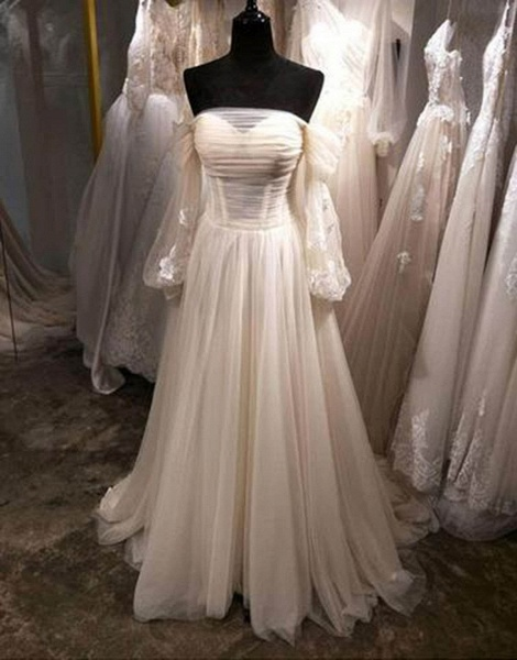 White Tulle Off Shoulder Long Sleeve See Through A-Line Wedding Dress_2