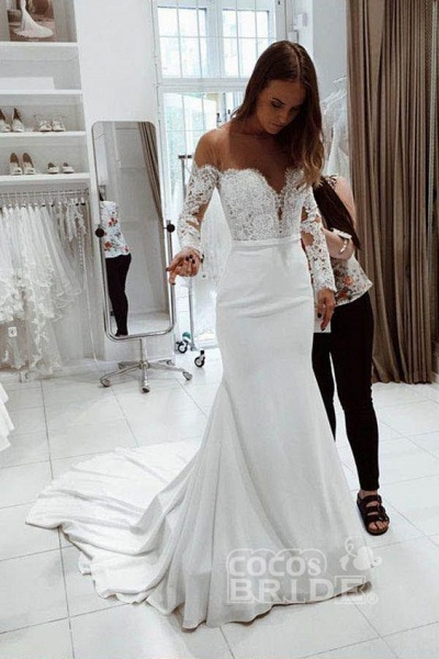 Mermaid Long Sleeves Off the Shoulder Wedding Dress_2