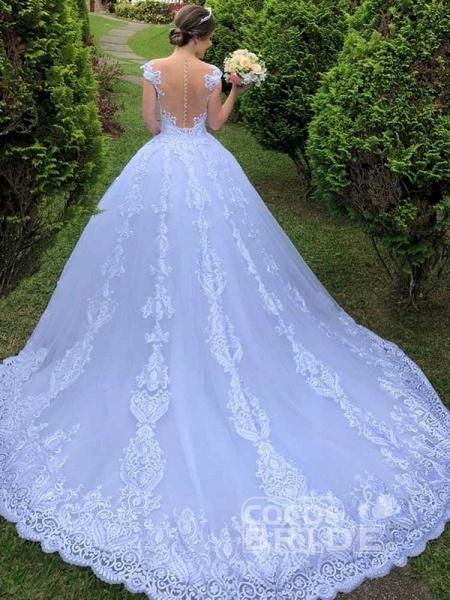 Exquisite Scoop Short Sleeve Zipper Lace Wedding Dresses_2