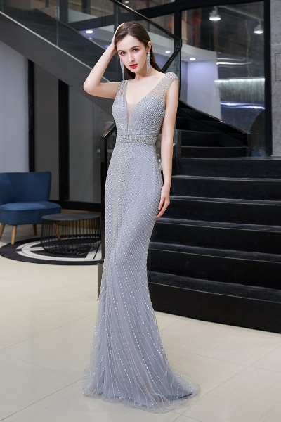 Sexy Mermaid V-neck Silver Long Prom Dress_4