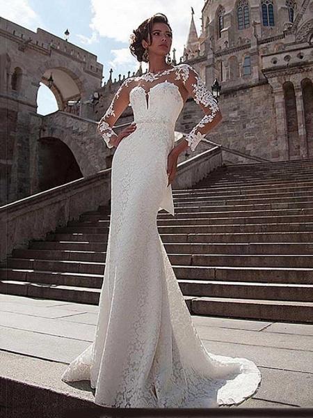 Glamorous Long Sleeves Lace Bowknot Mermaid Wedding Dresses_1
