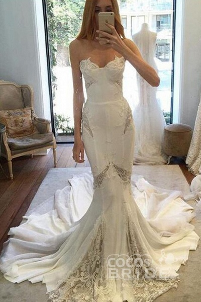 Chapel Train Sweetheart Mermaid Lace Appliques Chiffon Wedding Dress_2