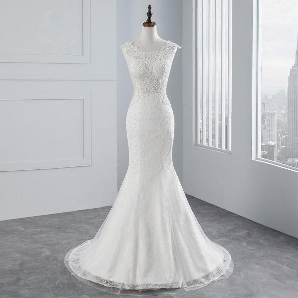 Glamorous Long Mermaid Jewel Tulle Sleeveless Wedding Dress with Appliques Lace_8