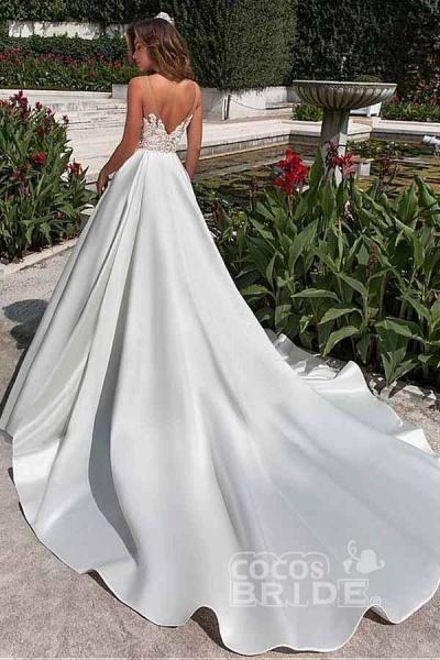 Lace Appliques Pockets A-line Satin Wedding Dress_2