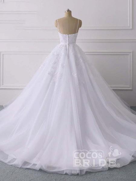 Spaghetti Straps Lace Tulle Ruffles Wedding Dresses_3