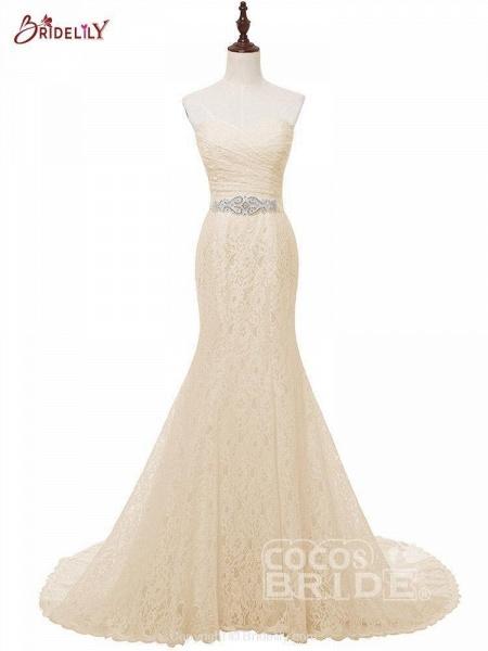 White Sweetheart Lace Mermaid Sash Wedding Dresses_2