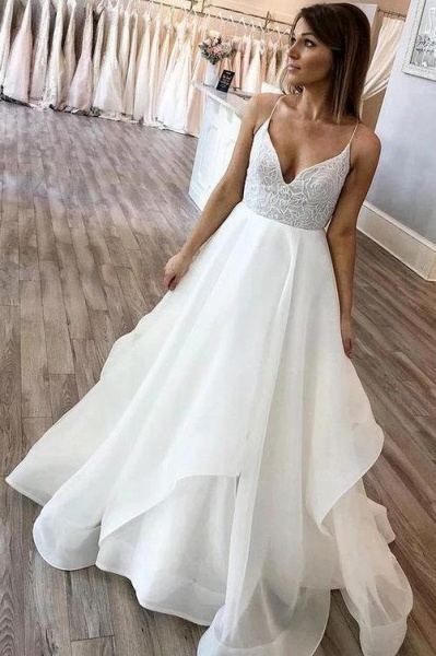 Floor Length Spaghetti Straps Beach Simple Wedding Dress_1