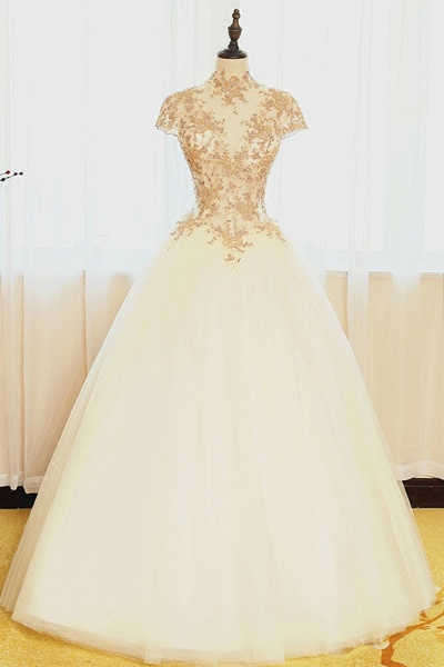 Ivory Organza Lace Applique High Neck Cap Sleeves A-Line Wedding Dresses_1
