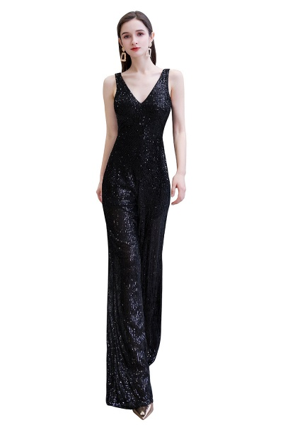 Sexy Shining V-neck Sleeveless Prom Jumpsuit with Silver Sequins_28