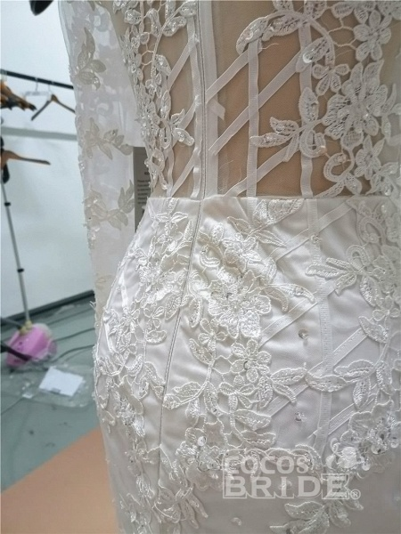 Modest Long Sleeves Lace Appliques Mermaid Wedding Dresses_6