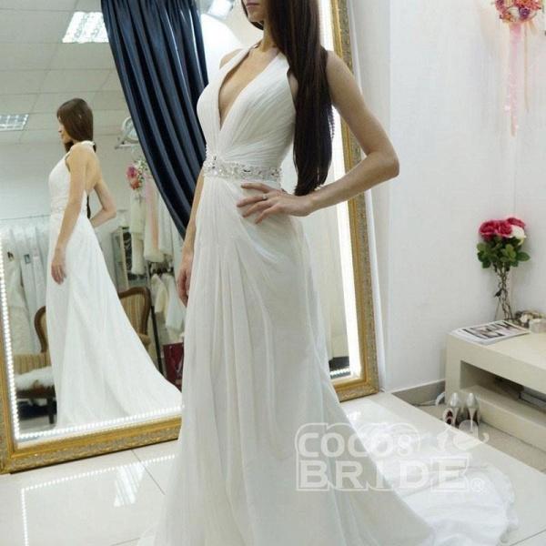 A-line Halter Chiffon Backless Court Train Beach Wedding Dress_2