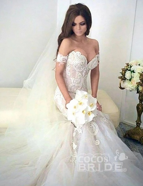 Charming Mermaid Style Off-the-Shoulder Sweep Train Lace Wedding Dress_3
