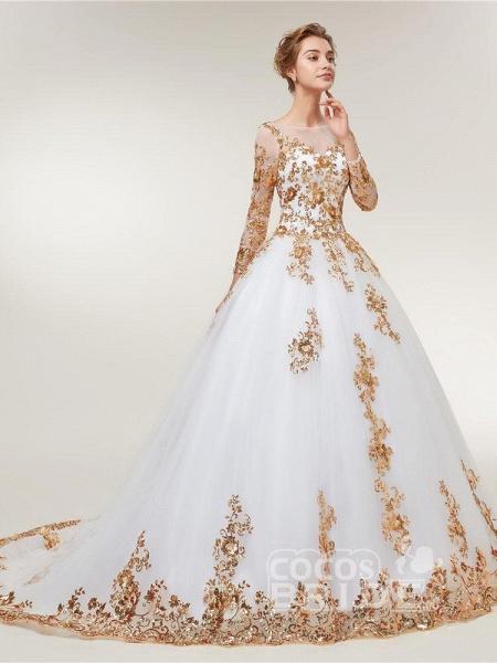 Golden Jewel Long Sleeve Ball Gown Wedding Dresses_3