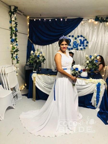 O-Neck Appliques A-Line Wedding Dresses_2