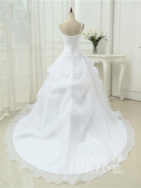 Modest One Shoulder Sweetheart Flower A-Line Wedding Dresses_2