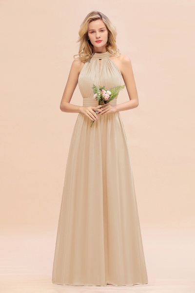 BM0758 Glamorous High-Neck Halter Bridesmaid Affordable Dresses with Ruffle_14