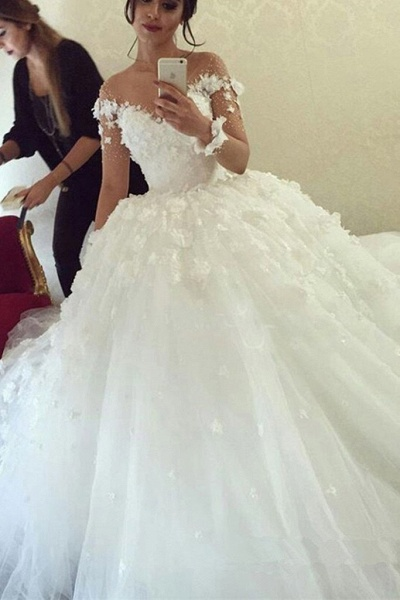 Ball Gown Sheer Neck with Flowers Long Sleeves Puffy Wedding Dress_1