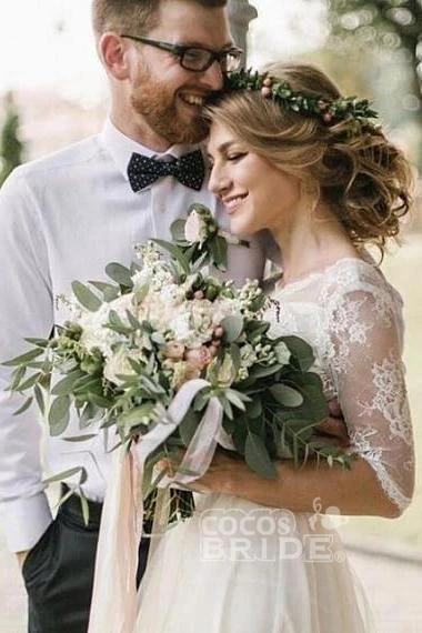 Puffy Half Sleeves Backless Floor Length Long Beach Wedding Dress_3