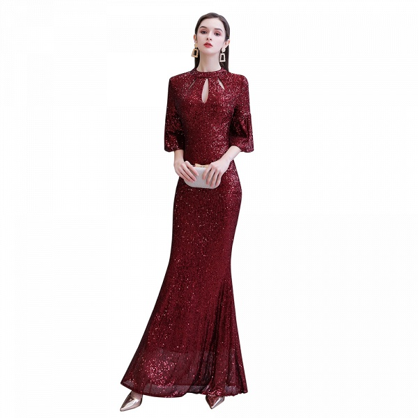 Burgundy Short Sleeve Sequins Long Prom Dress_13