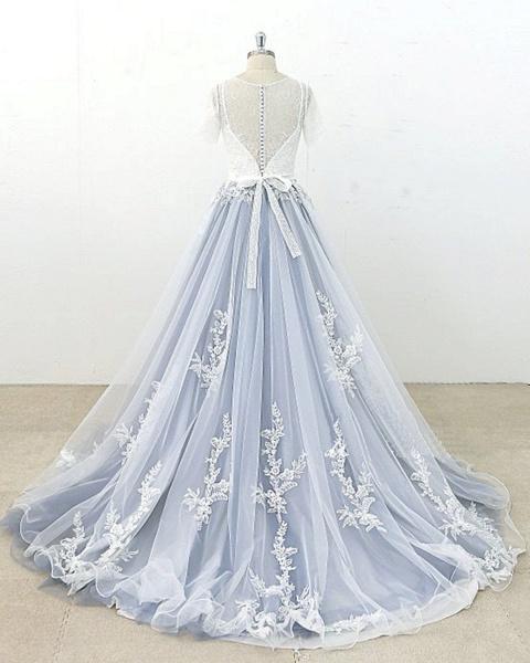 Blue Gray Tulle Ivory Lace Short Sleeve Beach Wedding Dress_2