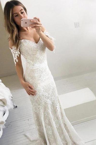 Affordable Off the Shoulder Mermaid Long Wedding Dress_1