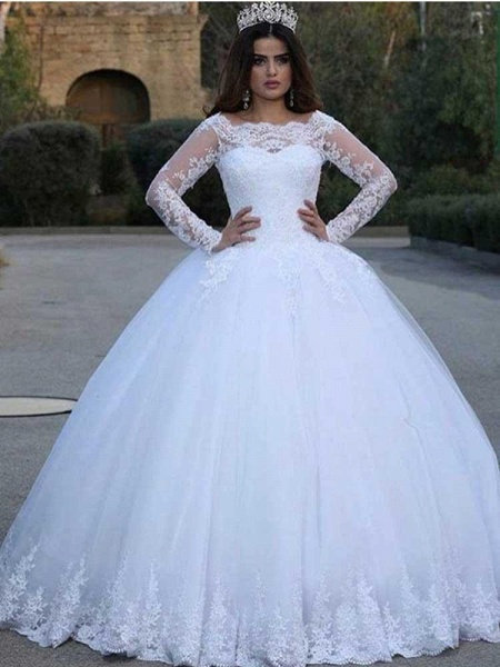 Long Sleeves Lace Appliques Wedding Dresses_1