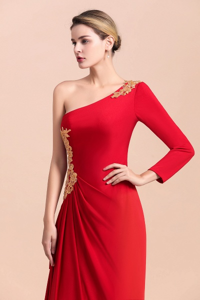 One-Shoulder Gold Appliques Long Sleeves Ruffles Mother of Bride Dress_8