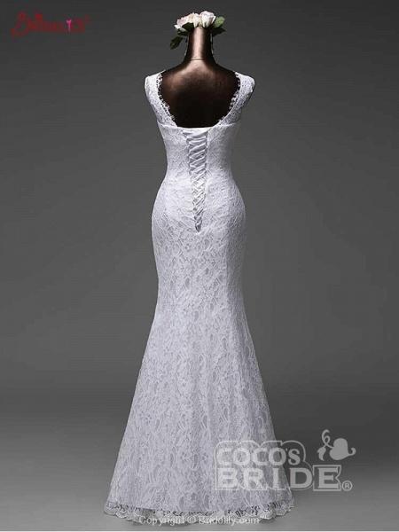 Elegant Bow Lace-Up Tulle Mermaid Wedding Dresses_4