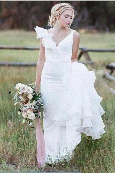 V Neck Backless Mermaid White Long Simple Wedding Dress_1