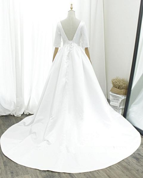 White Satin V Neck Sweep Train Pearl Wedding Dress_2