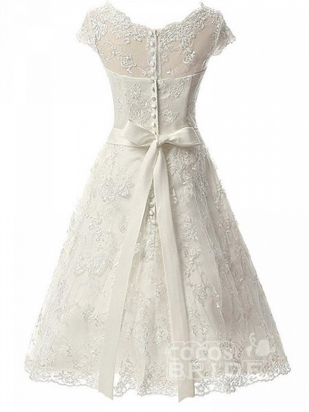 Glamorous Cap Sleeves Covered Button Ribbon Wedding Dresses_3