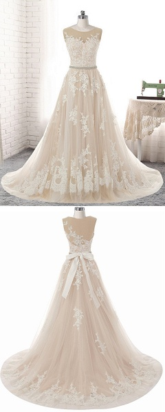 Creamy Tulle Round Neck White Lace Applique Long Wedding Dress_5