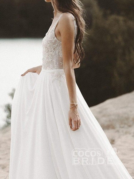V Neck Lace Boho Wedding Dresses_2