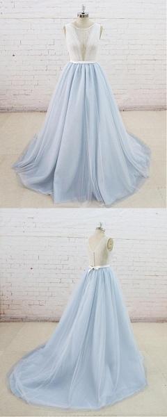 Light Blue Tulle Sheer Back Summer Lace Wedding Dress_5