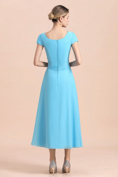 Blue Short Sleeves Chiffon Ruffles Tea-length Mother of the Bride Dress_3