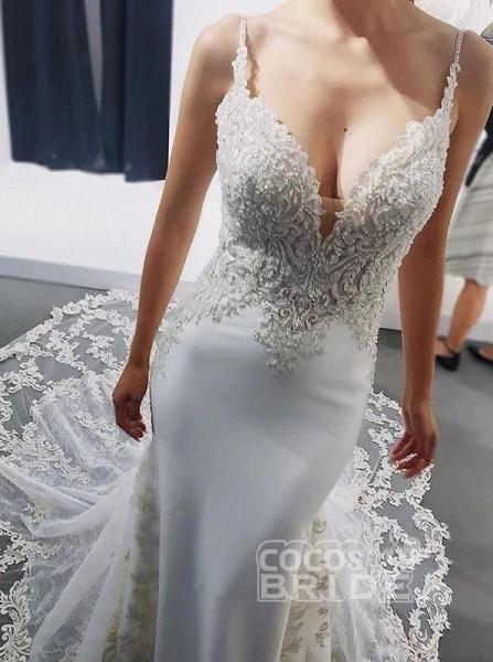 Straps Mermaid Sleeveless Appliques Beach Wedding Dress_2