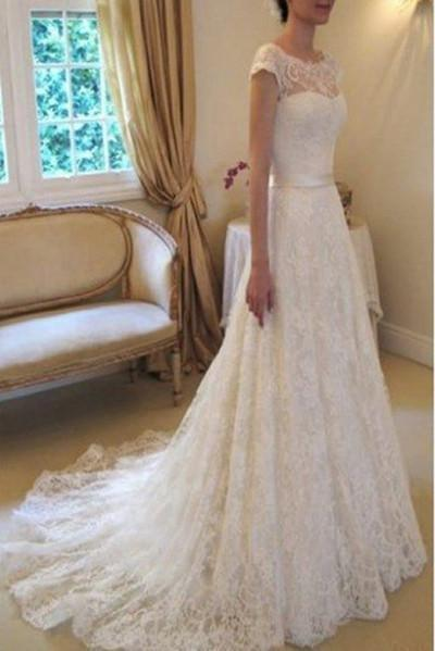 Cap Sleeve Lace Long With Court Train Ivory Beach Wedding Dress_1
